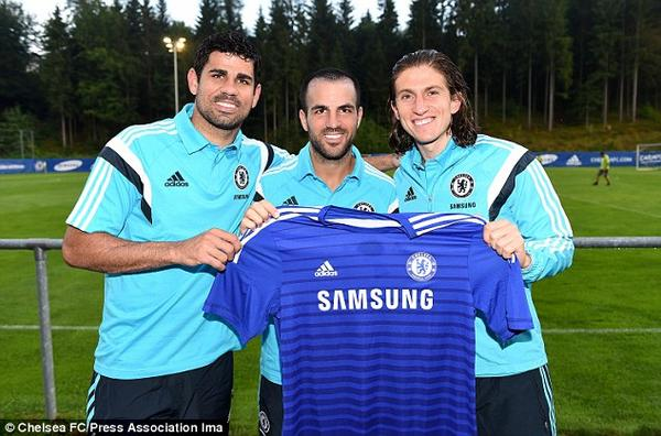 The new boys: Diego Costa, Cesc Fabregas and Filip…