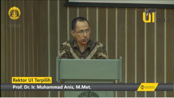 Buat rektor UI terpilih periode 2014-2019, Pak Pro…