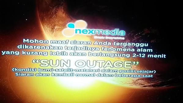 Sun outage….. #nexmedia http://t.co/ep64E4K3uJ